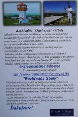 Miroslav Jureňa 12.júl - Info plagát o tom, že na Ostrom vrchu vyrastie nová rozhľadňa.