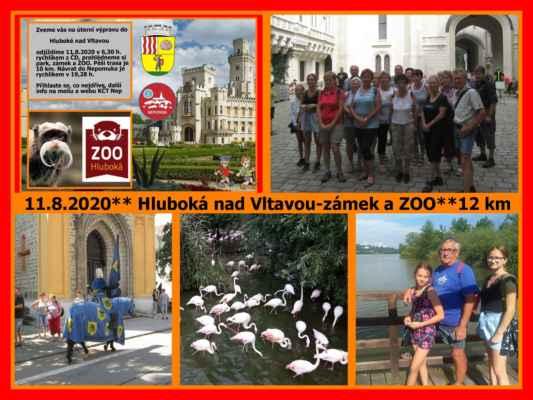 Úterní výprava turistů z Nepomuka na zámek Hluboká a ZOO Ohrada. Nádherné počasí, 21 turistů se prošlo Hlubokou.