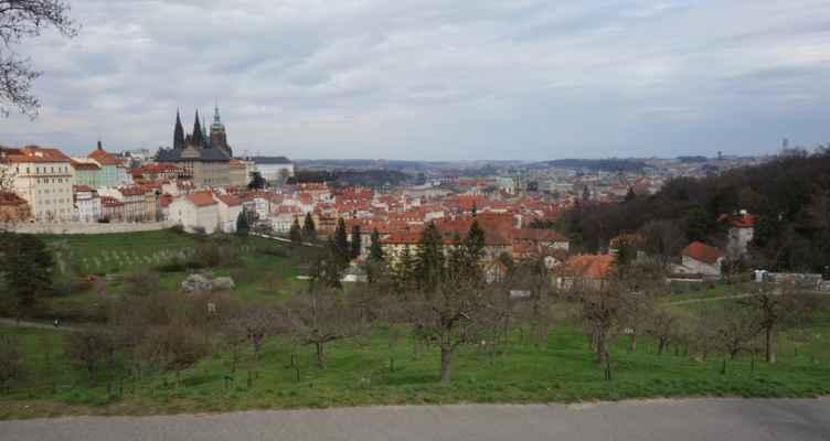 Část skupiny jsem ještě odvedla na Petřín, aby se vyhnuli centru. A tady je další výhled do údolí.